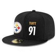 Wholesale Cheap Pittsburgh Steelers #91 Stephon Tuitt Snapback Cap NFL Player Black with White Number Stitched Hat