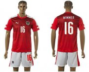 Wholesale Cheap Austria #16 Wimmer Red Home Soccer Country Jersey