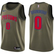 Wholesale Cheap Nike Pistons #0 Andre Drummond Green Salute to Service NBA Swingman Jersey