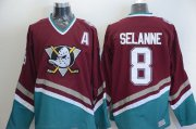 Wholesale Cheap Ducks #8 Teemu Selanne Red CCM Throwback Stitched NHL Jersey