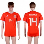 Wholesale Cheap Wales #14 Edwards Red Home Soccer Club Jersey