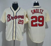 Wholesale Cheap Mitchell And Ness Braves #29 John Smoltz Cream Throwback Stitched MLB Jersey