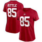 Wholesale Cheap San Francisco 49ers #85 George Kittle Nike Women's Team Player Name & Number T-Shirt Scarlet