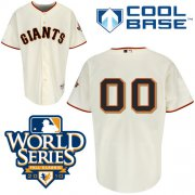 Wholesale Cheap Giants Customized Authentic Cream Cool Base MLB Jersey w/2010 World Series Patch (S-3XL)