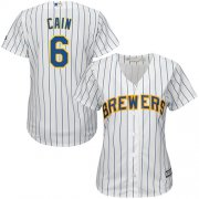 Wholesale Cheap Brewers #6 Lorenzo Cain White Strip Home Women's Stitched MLB Jersey