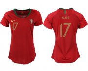 Wholesale Cheap Women's Portugal #17 Nani Home Soccer Country Jersey