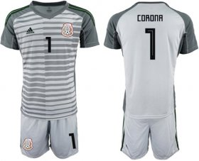 Wholesale Cheap Mexico #1 Corona Grey Goalkeeper Soccer Country Jersey