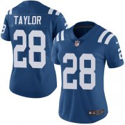 Wholesale Cheap Nike Colts #28 Jonathan Taylor Royal Blue Team Color Women's Stitched NFL Vapor Untouchable Limited Jersey