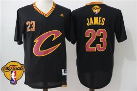 Wholesale Cheap Men\'s Cleveland Cavaliers LeBron James #23 2016 The NBA Finals Patch New Black Short-Sleeved Jersey