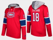 Wholesale Cheap Canadiens #18 Serge Savard Red Name And Number Hoodie