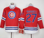 Wholesale Cheap Cubs #27 Addison Russell Red Long Sleeve Stitched MLB Jersey