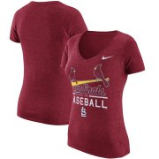 Wholesale Cheap St. Louis Cardinals Nike Women's Practice 1.7 Tri-Blend V-Neck T-Shirt Heathered Red