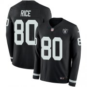 Wholesale Cheap Nike Raiders #80 Jerry Rice Black Team Color Men's Stitched NFL Limited Therma Long Sleeve Jersey