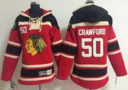 Wholesale Cheap Blackhawks #50 Corey Crawford Red Sawyer Hooded Sweatshirt Stitched Youth NHL Jersey