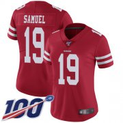 Wholesale Cheap Nike 49ers #19 Deebo Samuel Red Team Color Women's Stitched NFL 100th Season Vapor Limited Jersey