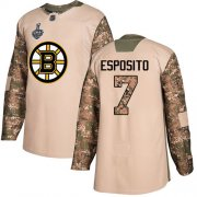 Wholesale Cheap Adidas Bruins #7 Phil Esposito Camo Authentic 2017 Veterans Day Stanley Cup Final Bound Stitched NHL Jersey