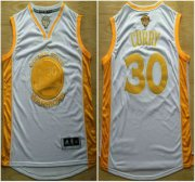 Wholesale Cheap Golden State Warriors #30 Stephen Curry 2015 NBA Final Game Gold Name White Jersey