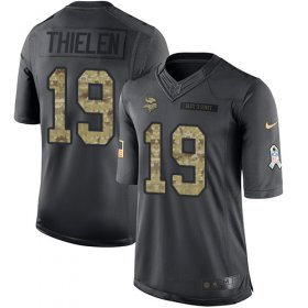 Wholesale Cheap Nike Vikings #19 Adam Thielen Black Youth Stitched NFL Limited 2016 Salute To Service Jersey