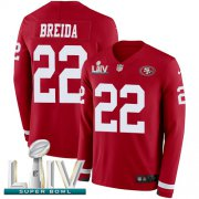 Wholesale Cheap Nike 49ers #22 Matt Breida Red Super Bowl LIV 2020 Team Color Men's Stitched NFL Limited Therma Long Sleeve Jersey