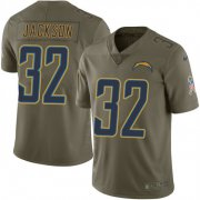 Wholesale Cheap Nike Chargers #32 Justin Jackson Olive Men's Stitched NFL Limited 2017 Salute To Service Jersey