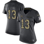 Wholesale Cheap Nike Buccaneers #13 Mike Evans Black Women's Stitched NFL Limited 2016 Salute to Service Jersey