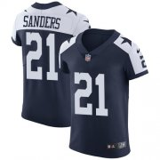 Wholesale Cheap Nike Cowboys #21 Deion Sanders Navy Blue Thanksgiving Men's Stitched NFL Vapor Untouchable Throwback Elite Jersey
