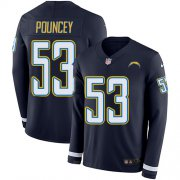 Wholesale Cheap Nike Chargers #53 Mike Pouncey Navy Blue Team Color Men's Stitched NFL Limited Therma Long Sleeve Jersey