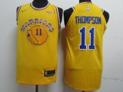 Wholesale Cheap Men's Golden State Warriors #11 Klay Thompson Yellow Throwback Nike Authentic Jersey
