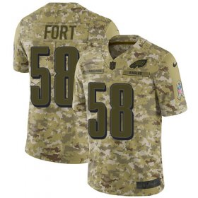 Wholesale Cheap Nike Eagles #58 LJ Fort Camo Men\'s Stitched NFL Limited 2018 Salute To Service Jersey