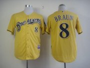 Wholesale Cheap Brewers #8 Ryan Braun Yellow Alternate Cool Base Stitched MLB Jersey
