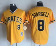 Wholesale Cheap Mitchell and Ness Pirates #8 Willie Stargell Stitched Yellow Throwback MLB Jersey