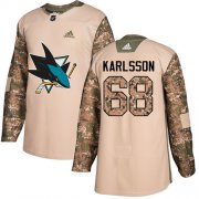 Wholesale Cheap Adidas Sharks #68 Melker Karlsson Camo Authentic 2017 Veterans Day Stitched Youth NHL Jersey