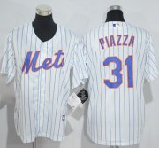 Wholesale Cheap Mets #31 Mike Piazza White(Blue Strip) Home Cool Base Stitched Youth MLB Jersey