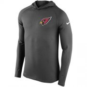 Wholesale Cheap Men's Arizona Cardinals Nike Charcoal Stadium Touch Long Sleeve Hooded Performance T-Shirt