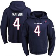 Wholesale Cheap Nike Texans #4 Deshaun Watson Navy Blue Name & Number Pullover NFL Hoodie