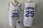 Wholesale Cheap Men's Philadelphia 76ers 25 Ben Simmons Nike White 2018-19 Swingman Earned Edition Jersey