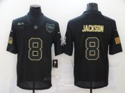Wholesale Cheap Men's Baltimore Ravens #8 Lamar Jackson Black 2020 Salute To Service Stitched NFL Nike Limited Jersey