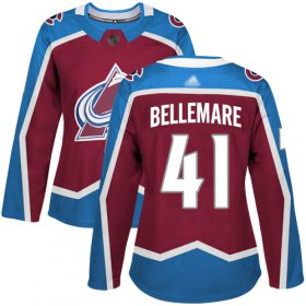 Wholesale Cheap Adidas Avalanche #41 Pierre-Edouard Bellemare Burgundy Home Authentic Women\'s Stitched NHL Jersey