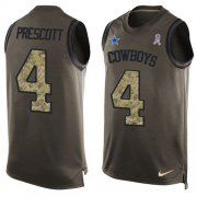Wholesale Cheap Nike Cowboys #4 Dak Prescott Green Men's Stitched NFL Limited Salute To Service Tank Top Jersey