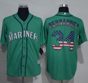 Wholesale Cheap Mariners #34 Felix Hernandez Green USA Flag Fashion Stitched MLB Jersey