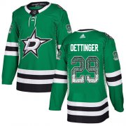 Cheap Adidas Stars #29 Jake Oettinger Green Home Authentic Drift Fashion Stitched NHL Jersey