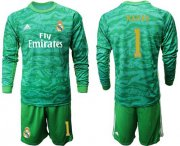 Wholesale Cheap Real Madrid #1 Navas Green Goalkeeper Long Sleeves Soccer Club Jersey