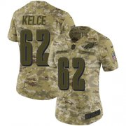 Wholesale Cheap Nike Eagles #62 Jason Kelce Camo Women's Stitched NFL Limited 2018 Salute to Service Jersey