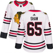 Wholesale Cheap Adidas Blackhawks #65 Andrew Shaw White Road Authentic Women's Stitched NHL Jersey