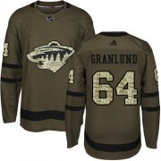 Wholesale Cheap Adidas Wild #64 Mikael Granlund Green Salute to Service Stitched Youth NHL Jersey