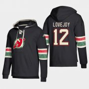 Wholesale Cheap New Jersey Devils #12 Ben Lovejoy Black adidas Lace-Up Pullover Hoodie