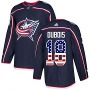Wholesale Cheap Adidas Blue Jackets #18 Pierre-Luc Dubois Navy Blue Home Authentic USA Flag Stitched Youth NHL Jersey
