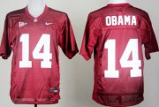 Wholesale Cheap Alabama 14th Championship Anniversary President #14 Barack Obama Red Jersey