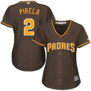 Wholesale Cheap Padres #2 Jose Pirela Brown Alternate Women's Stitched MLB Jersey