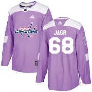 Wholesale Cheap Adidas Capitals #68 Jaromir Jagr Purple Authentic Fights Cancer Stitched NHL Jersey